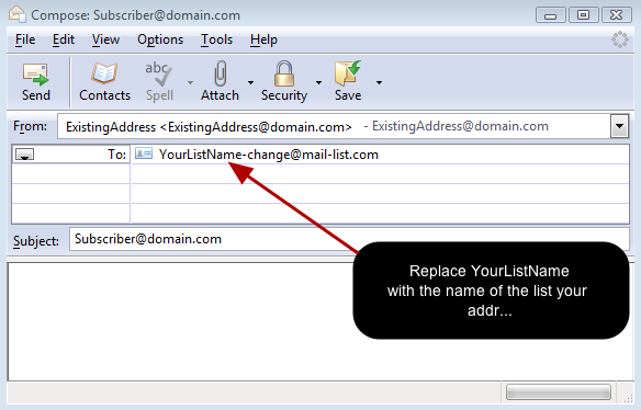 The second way of changing the email address is via an email