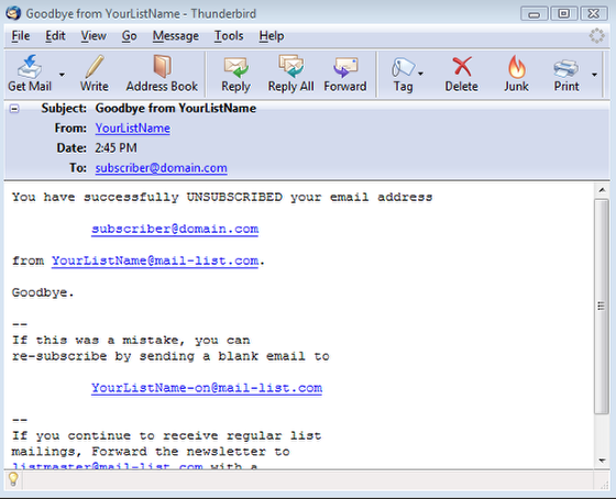 A Goodbye Message is sent to the subscriber which will look like this: