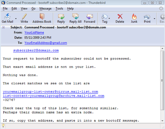 If you provide an invalid subscriber's email address, then you will receive an email like this: