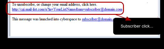 To unsubscribe via the link, The subscriber clicks on the appropriate link in your newsletter.