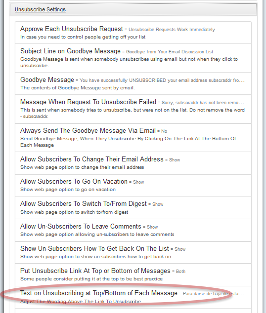 Log into http://database.mail-list.com and Customize Your List > Unsubscribe Settings