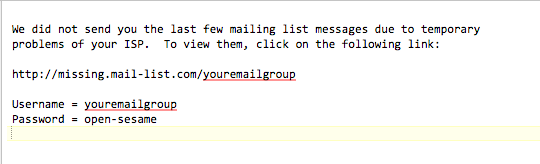 What does this message mean at the top of a message to the mailing list ?