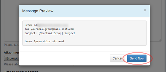 """On the next screen, you will be able to preview your message. Hit """"Send Now"""" or """"Cancel"""" to make changes."""