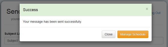 The next screen will confirm that the message was sent successfully: