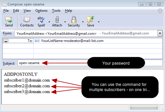 Or you can send an email to our system with the command: ADDPOSTONLY