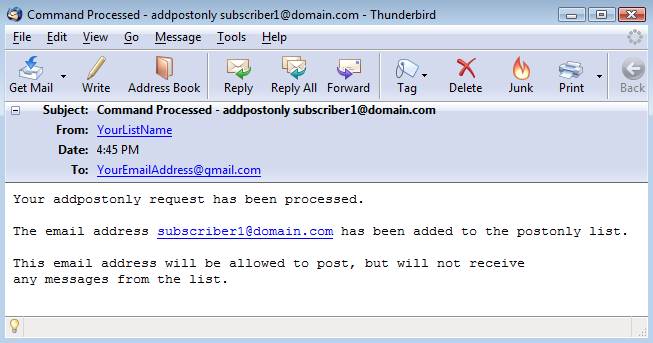 """You will also receive a """"Command Processed"""" email for each subscriber:"""