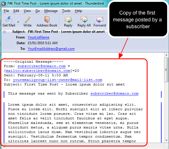 When a subscriber posts their first message, you will receive a notification email that will look like this: