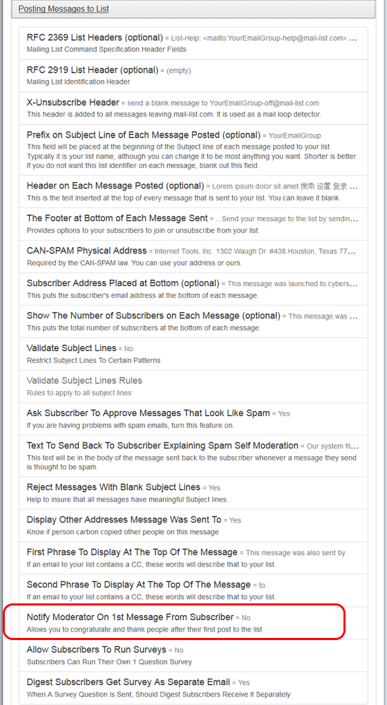 """Click on """"Posting Messages To List"""" and then on """"Notify Moderators On...."""":"""