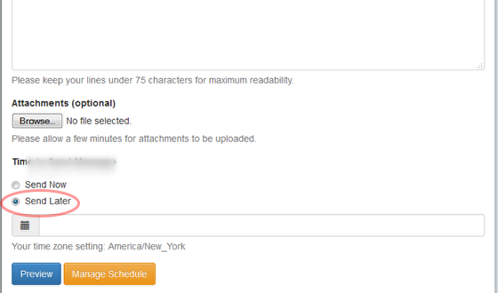 """After you have composed your message and selected an email address, choose on """"Send Later"""" radio button"""""""
