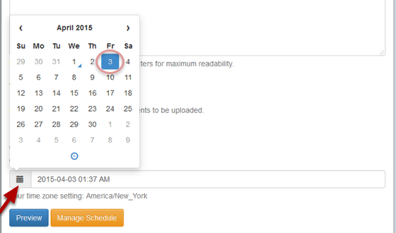 Click on the calendar icon and select the date and time when you want your message to be sent: