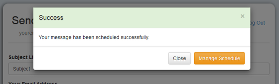 """The following screen will confirm that the message was scheduled. You may click on """"Manage Schedule"""" to view your previously scheduled message :"""