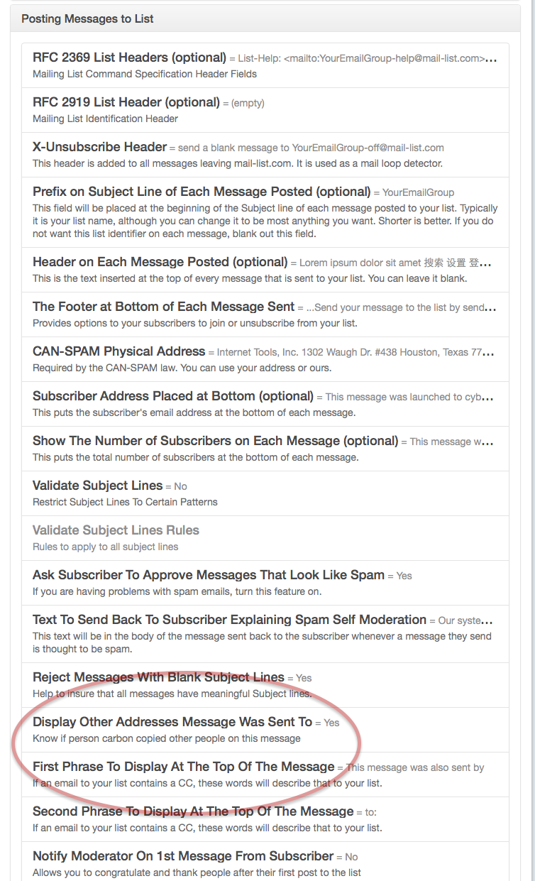 Customize Your List and open up the Posting Messages to List section