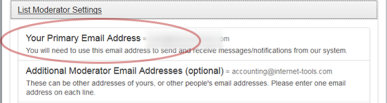 "Click on ""Your primary email address"", enter your primary email address and save your settings."