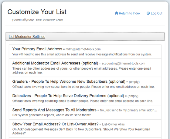 """List Owners are set up from the mail-list account (Your primary email address) under """"List Moderator Settings"""" at http://database.mail-list.com:"""