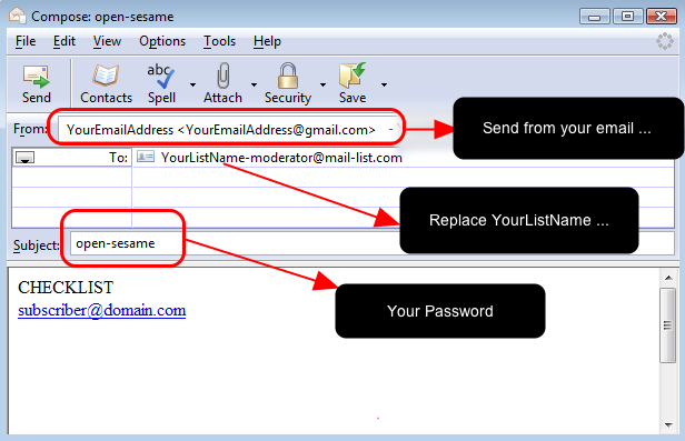 Alternatively, you can send an email to our system with the command: CHECKLIST