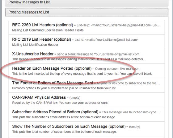 Customize Your List and select the section for Posting Messages to the List