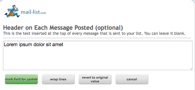 Most lists leave the header blank, but you can put anything you want in there