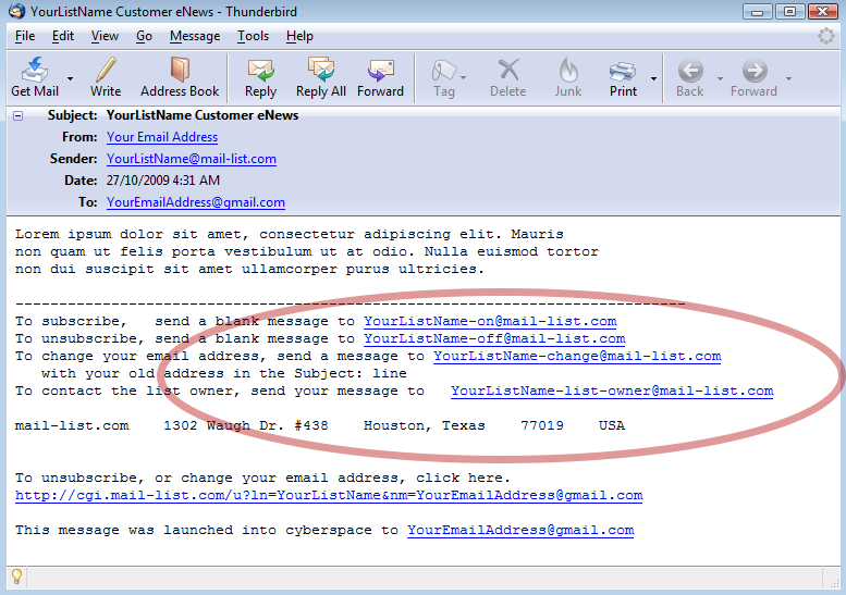Example of a typical footer, with the list name as prefixes to the -on, -off, -change and -list-owner email addresses