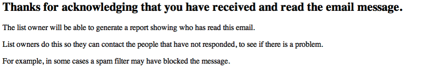 When they click on the link, they will be taken to a web page, thanking them for taking action.