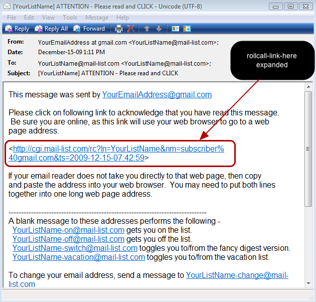 Some email readers, like Windows Mail may display the long link in two lines instead of one: