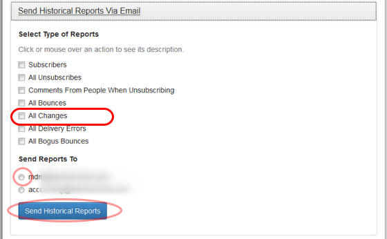 """Select """"All Bounces"""" and the email address where you want to receive the report."""