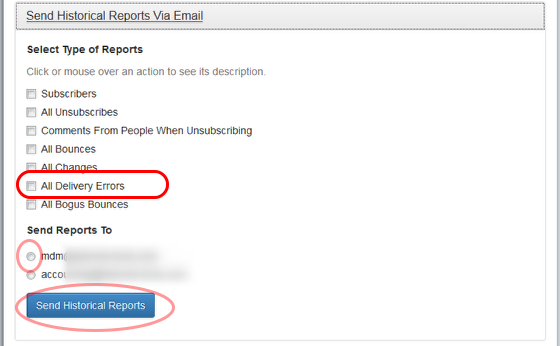 """Select """"All Delivery Errors"""" option and the email address where you want to receive the report."""