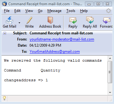 The first email is the Command Receipt email: