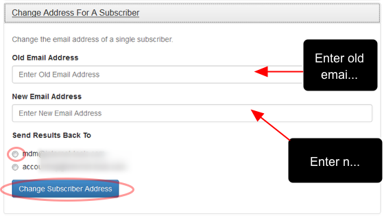 Enter the old and the new email addresses and select an email address where you want to receive the results.