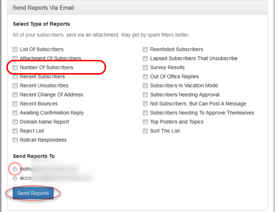 """Select """"Number of Subscribers"""" option and the email address where you want to receive the results:"""