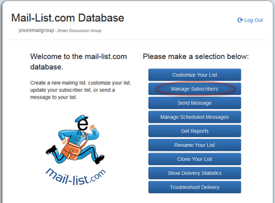 """To use the web interface, click on """"Manage Subscribers"""" and log into your mail-list account:"""