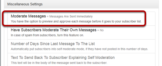 """Click on """"Moderate Messages"""" link under """"Miscellaneous Settings"""":"""