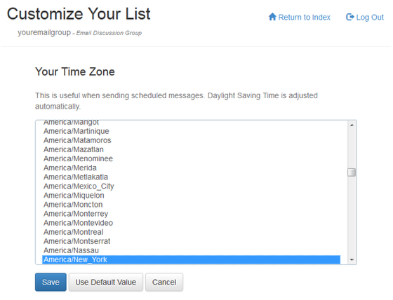 "Click on ""List Moderator Settings"" and then on ""Your Time Zone"":"