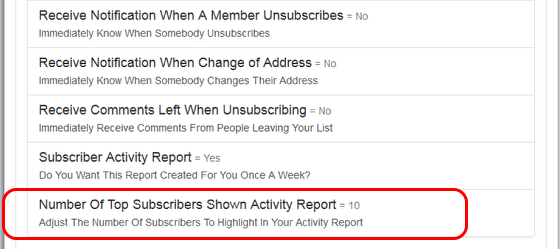 """Click on """"Reports"""" and then on """"Number of Top Subscribers to Show...."""" which is the last option in the category:"""