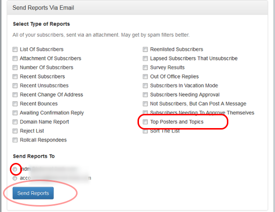 """Click on """"Send Reports Via Email"""", select the option """"Top Posters and Topics"""" and the email address where you would like to receive the report."""