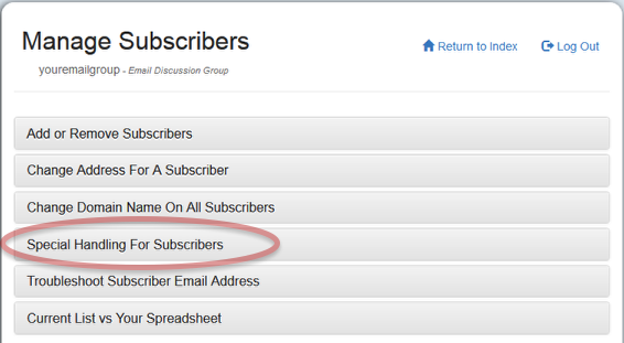Choose the Special Handling For Subscribers section