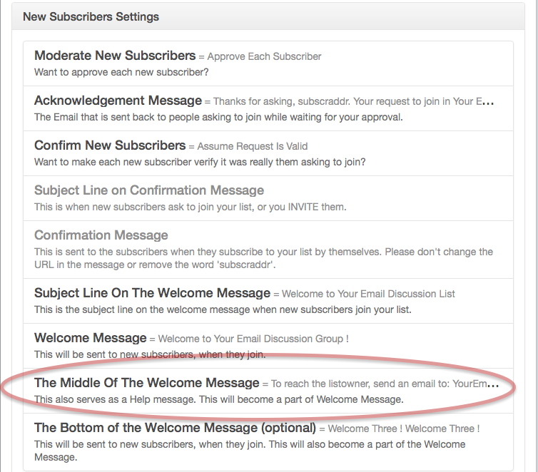 In Customize Your List - New Subscriber Settings