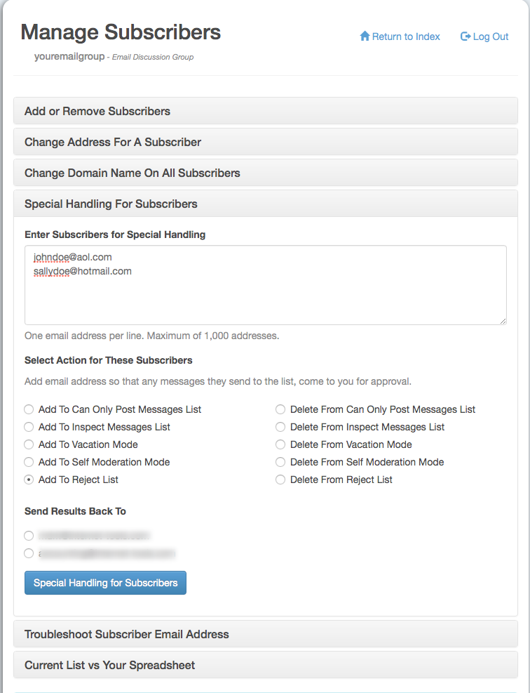 Enter the addresses you want to silently reject and select the Add To Reject List radio button