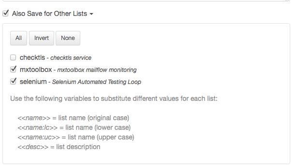 Click on the checkbox of the list(s) that you want.
