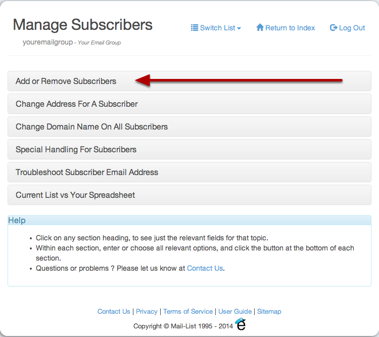 Click on the section headers to expose the types of changes you want to make