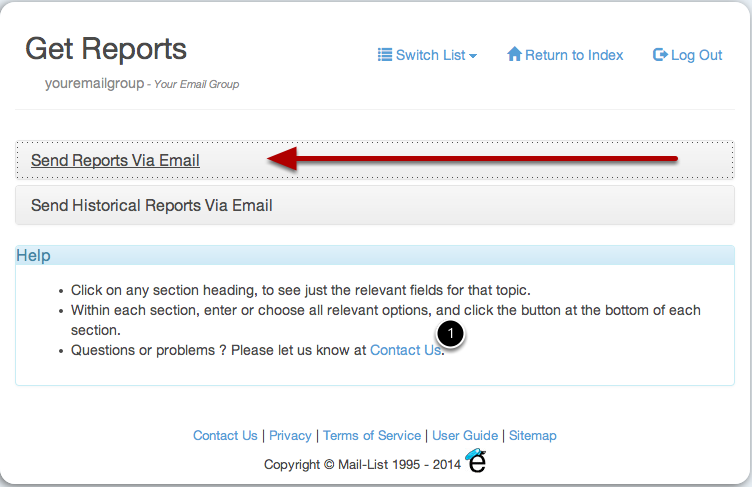 Click on the section headers to expose the types of reports you want