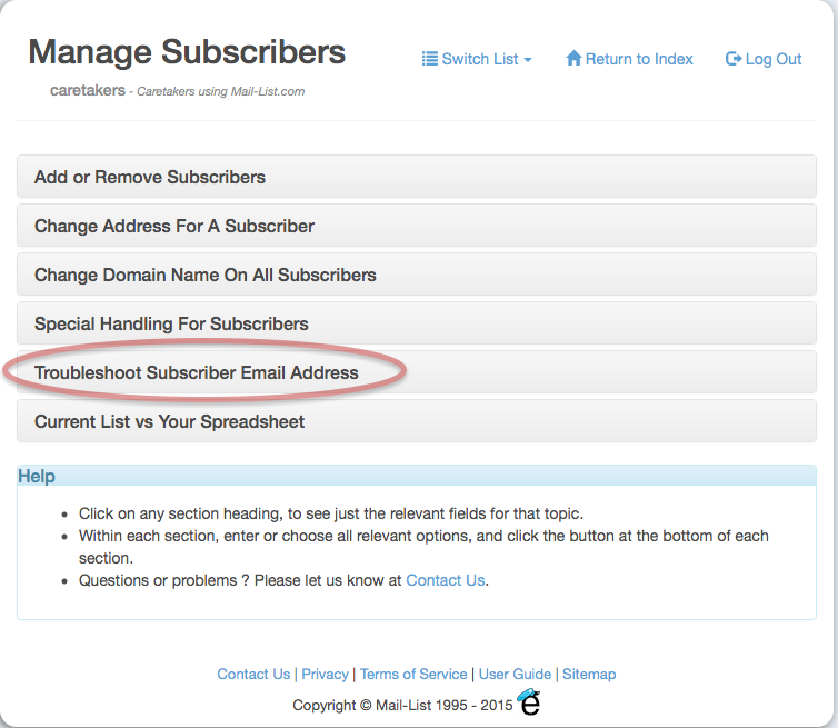Click on the Troubleshoot Subscriber Email Address