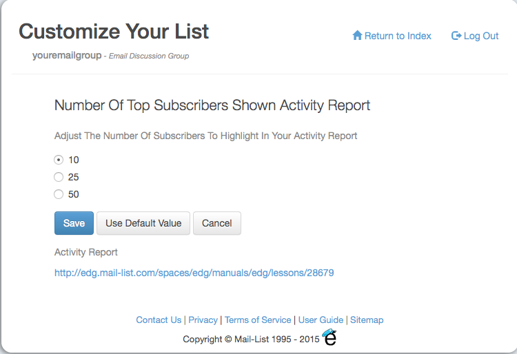 You can show the top 10, 25 or 50 subscribers on these reports. If you have a big active list, choose the higher numbers.