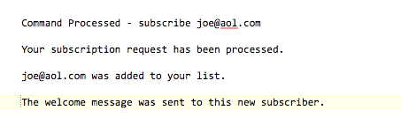 You will get this type of report back via email when any list moderator adds or removes a subscriber