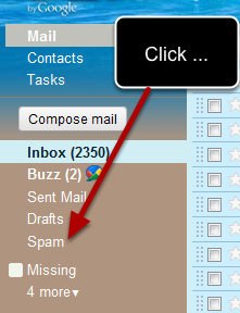 The link to access the spam folder is located on the left sidebar after you log into your gmail account: