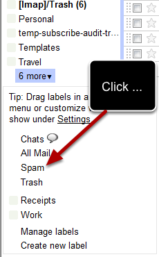 """Click on """"more"""" and a new window will open in the sidebar where you will find the spam link:"""