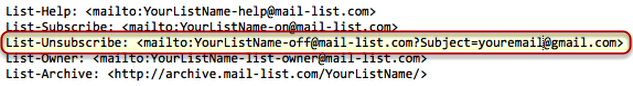Here is an example of the List-Unsubscribe and a few more headers:
