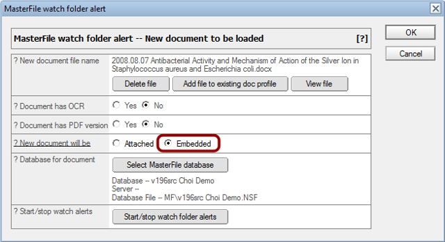 Adding an embedded document to a profile