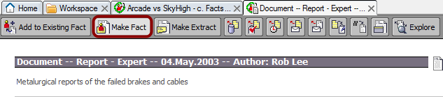 Creating a fact from a document profile