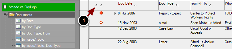 documents, by Date view