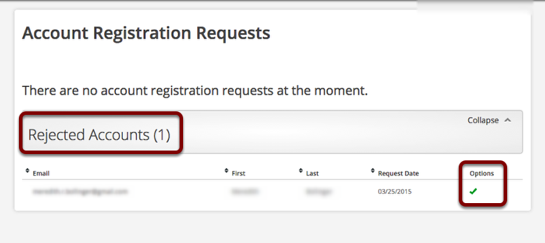 Rejected Account Registration Requests